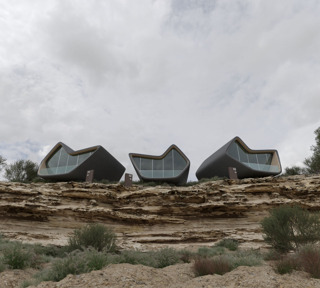 Cliff-shaped cabins in Saudi Arabia